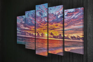 Colorful sunset over ocean on Maldives 5 Split Panel Canvas  - Canvas Art Rocks - 2
