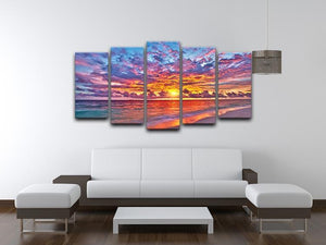 Colorful sunset over ocean on Maldives 5 Split Panel Canvas  - Canvas Art Rocks - 3