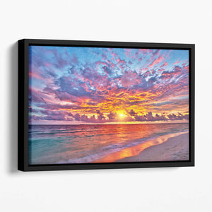 Colorful sunset over ocean on Maldives Floating Framed Canvas