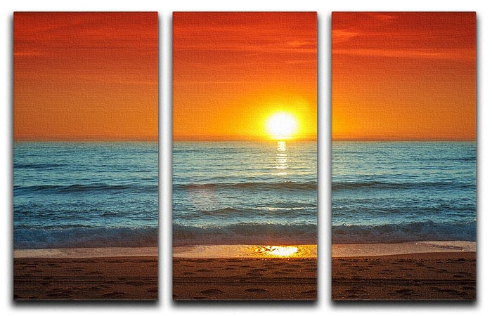 Colorful sunset over the sea 3 Split Panel Canvas Print