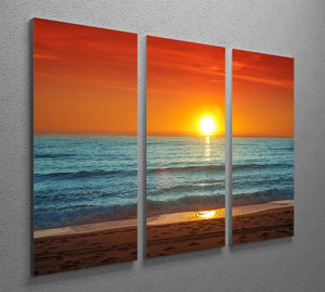Colorful sunset over the sea 3 Split Panel Canvas Print - Canvas Art Rocks - 2