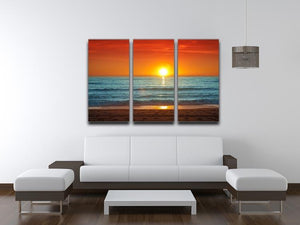 Colorful sunset over the sea 3 Split Panel Canvas Print - Canvas Art Rocks - 3