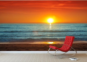 Colorful sunset over the sea Wall Mural Wallpaper - Canvas Art Rocks - 2