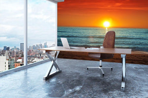 Colorful sunset over the sea Wall Mural Wallpaper - Canvas Art Rocks - 3