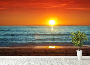 Colorful sunset over the sea Wall Mural Wallpaper - Canvas Art Rocks - 4
