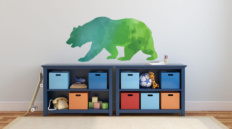 Colorful Bear Silhouette Wall Decal - Canvas Art Rocks - 1