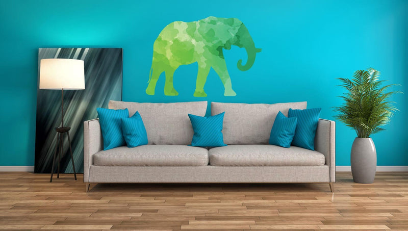 Colorful Elephant Silhouette Wall Decal - Canvas Art Rocks - 1