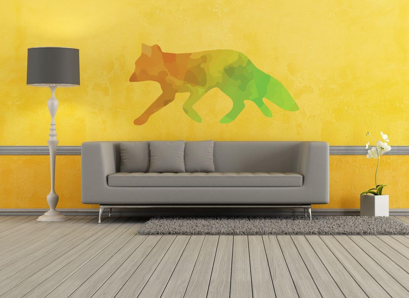 Colorful Fox Silhouette Wall Decal | Canvas Art Rocks