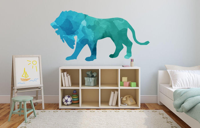 Colourful Lion Silhouette Wall Sticker