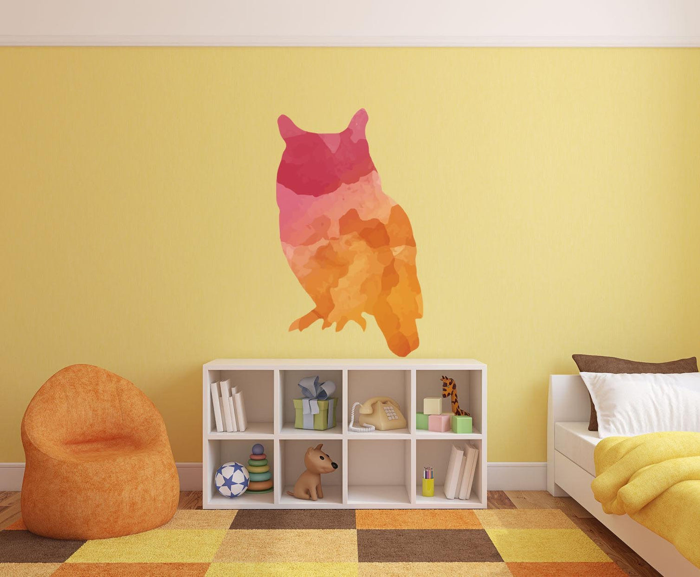 Colorful Owl Silhouette Wall Decal | Canvas Art Rocks