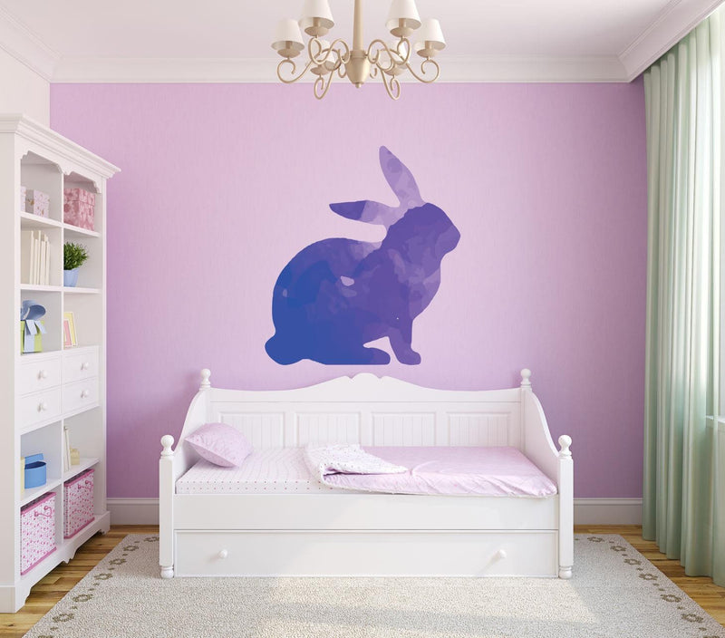 Colorful Rabbit Silhouette Wall Decal - Canvas Art Rocks - 1