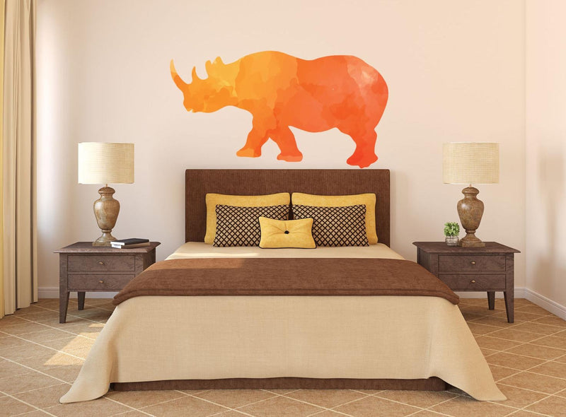 Colorful Rhino Silhouette Wall Decal - Canvas Art Rocks - 1