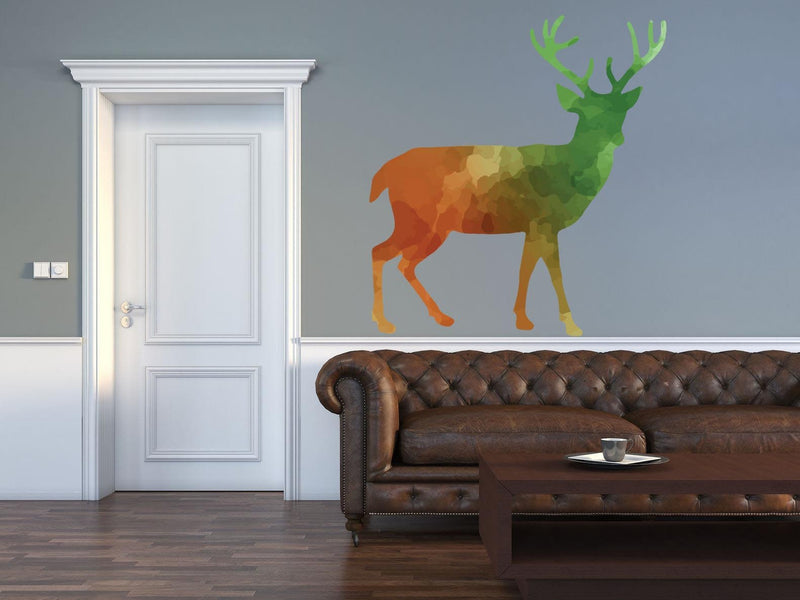 Colorful Stag Silhouette Wall Decal - Canvas Art Rocks - 1