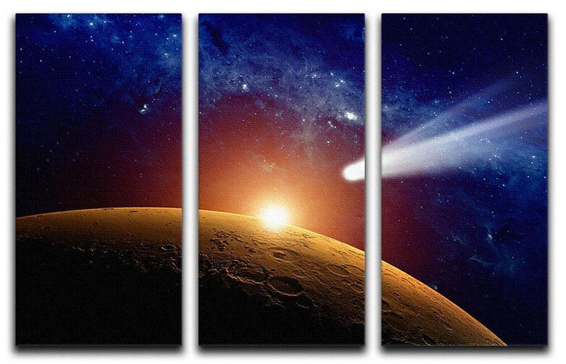 Comet approaching planet Mars 3 Split Panel Canvas Print - Canvas Art Rocks - 1