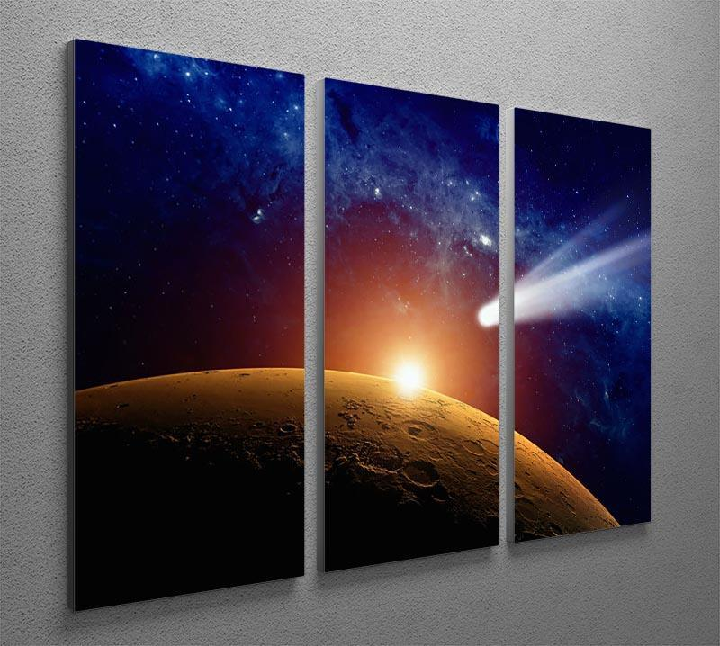Comet approaching planet Mars 3 Split Panel Canvas Print - Canvas Art Rocks - 2