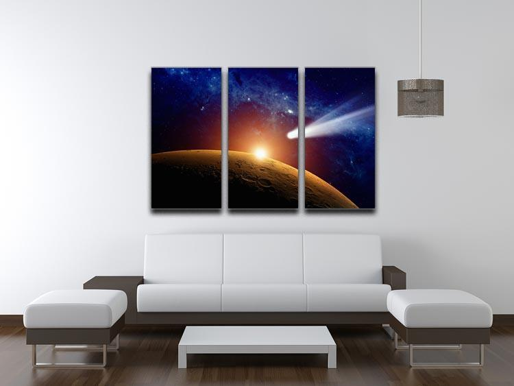 Comet approaching planet Mars 3 Split Panel Canvas Print - Canvas Art Rocks - 3