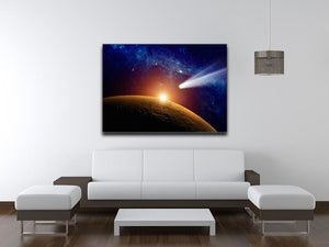 Comet approaching planet Mars Canvas Print or Poster - Canvas Art Rocks - 4