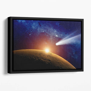 Comet approaching planet Mars Floating Framed Canvas