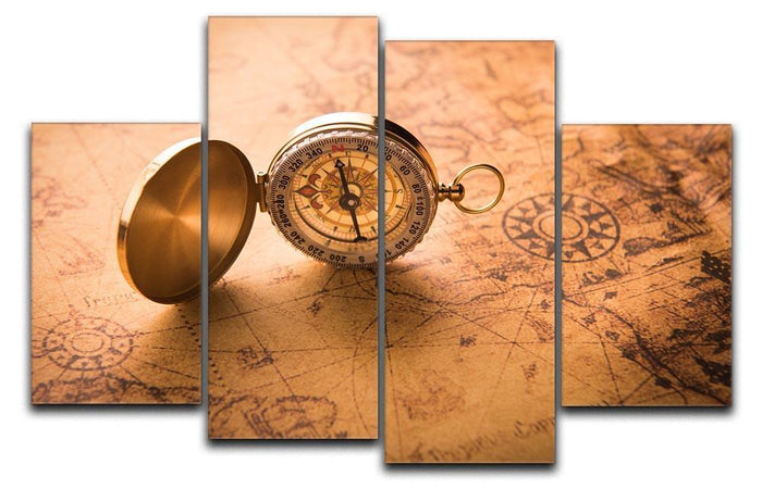 Compass on old map vintage style 4 Split Panel Canvas