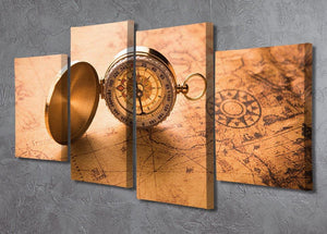 Compass on old map vintage style 4 Split Panel Canvas  - Canvas Art Rocks - 2