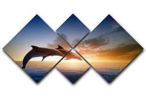 Couple jumping dolphins 4 Square Multi Panel Canvas  - Canvas Art Rocks - 1