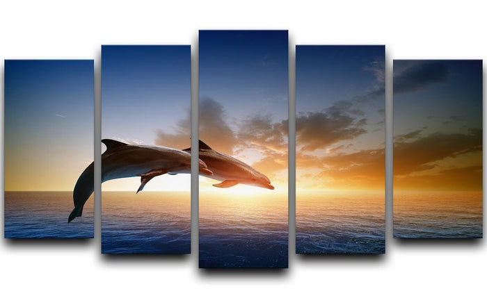 Couple jumping dolphins 5 Split Panel Canvas