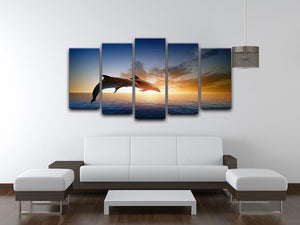 Couple jumping dolphins 5 Split Panel Canvas  - Canvas Art Rocks - 3