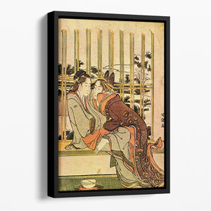 Couples by Hokusai Floating Framed Canvas