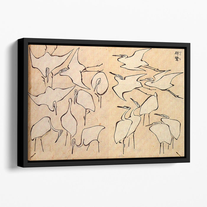 Cranes by Hokusai Floating Framed Canvas