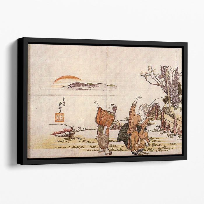 Crazy poetry by Hokusai Floating Framed Canvas