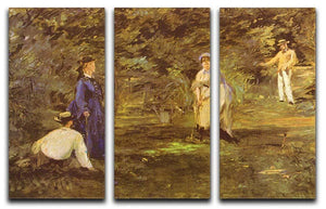 Croquet Party by Manet 3 Split Panel Canvas Print - Canvas Art Rocks - 1