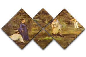 Croquet Party by Manet 4 Square Multi Panel Canvas  - Canvas Art Rocks - 1