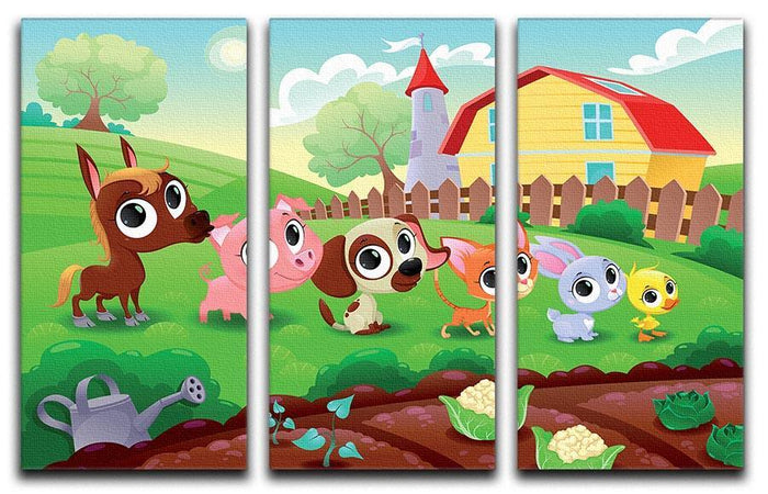 Cute Littest farm animals in the garden 3 Split Panel Canvas Print