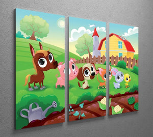 Cute Littest farm animals in the garden 3 Split Panel Canvas Print - Canvas Art Rocks - 2