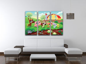 Cute Littest farm animals in the garden 3 Split Panel Canvas Print - Canvas Art Rocks - 3