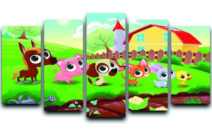 Cute Littest farm animals in the garden 5 Split Panel Canvas - Canvas Art Rocks - 1