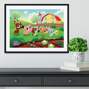 Cute Littest farm animals in the garden Framed Print - Canvas Art Rocks - 1