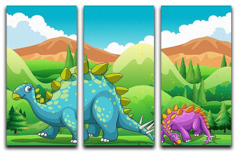 Cute dinosaurs walking 3 Split Panel Canvas Print - Canvas Art Rocks - 1