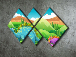 Cute dinosaurs walking 4 Square Multi Panel Canvas - Canvas Art Rocks - 2