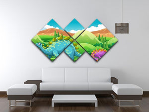 Cute dinosaurs walking 4 Square Multi Panel Canvas - Canvas Art Rocks - 3