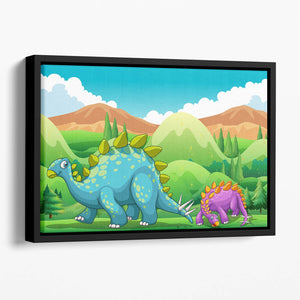 Cute dinosaurs walking Floating Framed Canvas