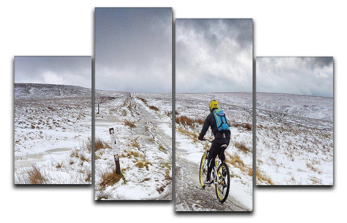 Cycling in the snow 4 Split Panel Canvas