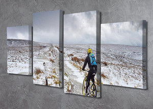 Cycling in the snow 4 Split Panel Canvas - Canvas Art Rocks - 2