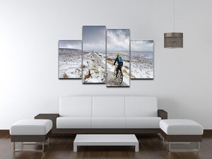 Cycling in the snow 4 Split Panel Canvas - Canvas Art Rocks - 3