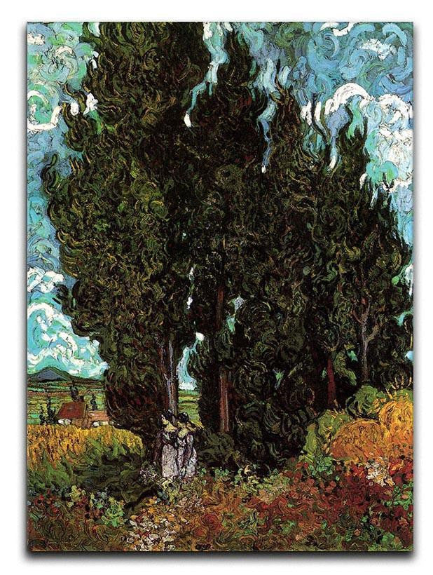 Cypresses with Two Female Figures by Van Gogh Canvas Print or Poster