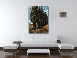 Cypresses with Two Female Figures by Van Gogh Canvas Print & Poster - Canvas Art Rocks - 4