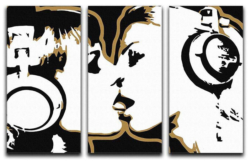 DJ Girls Pop Art 3 Split Panel Canvas Print - Canvas Art Rocks - 1