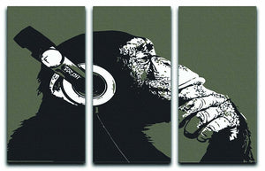 DJ Monkey Headphones 3 Split Panel Canvas Print - Canvas Art Rocks - 1