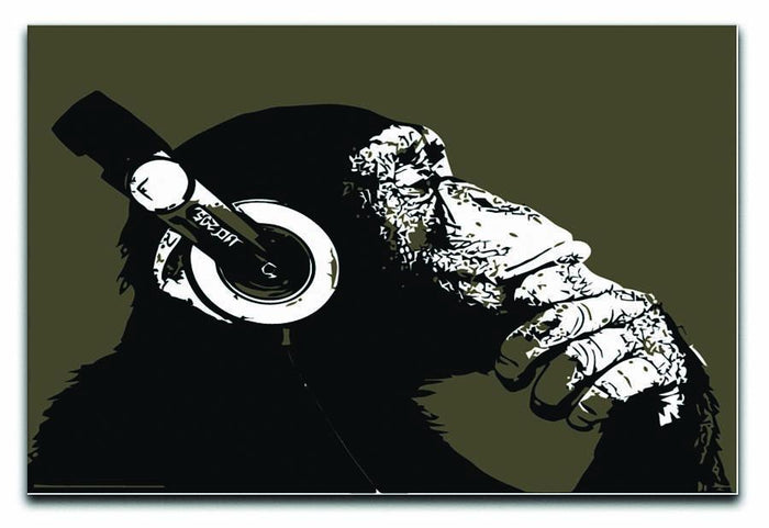 DJ Monkey Headphones Canvas Print or Poster