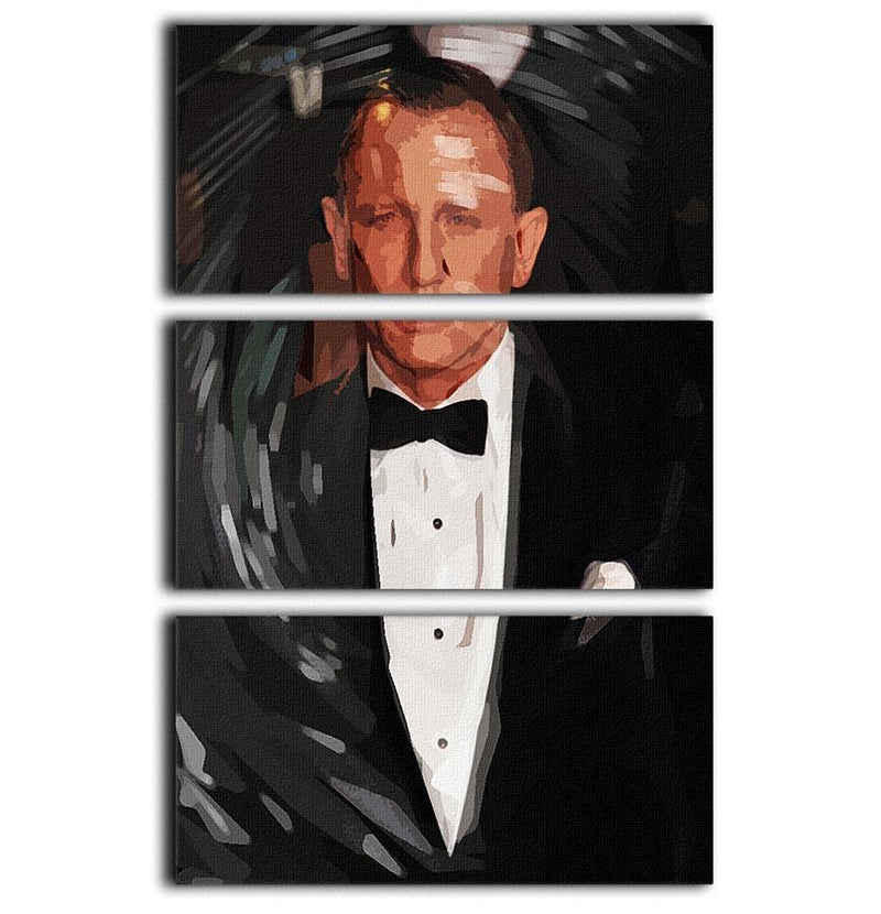 Daniel Craig James Bond Pop Art 3 Split Panel Canvas Print - Canvas Art Rocks - 1